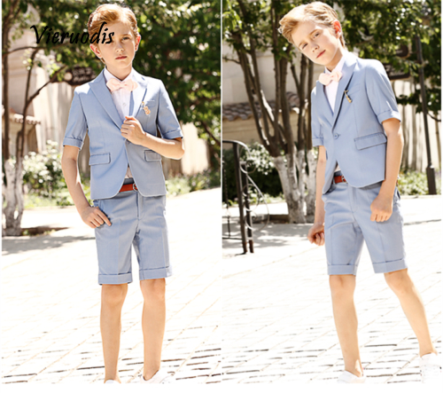 Blue Suit With Short Sleeves Newest Boys Wedding Suits Kids Groom Tuxedos 2 Pcs