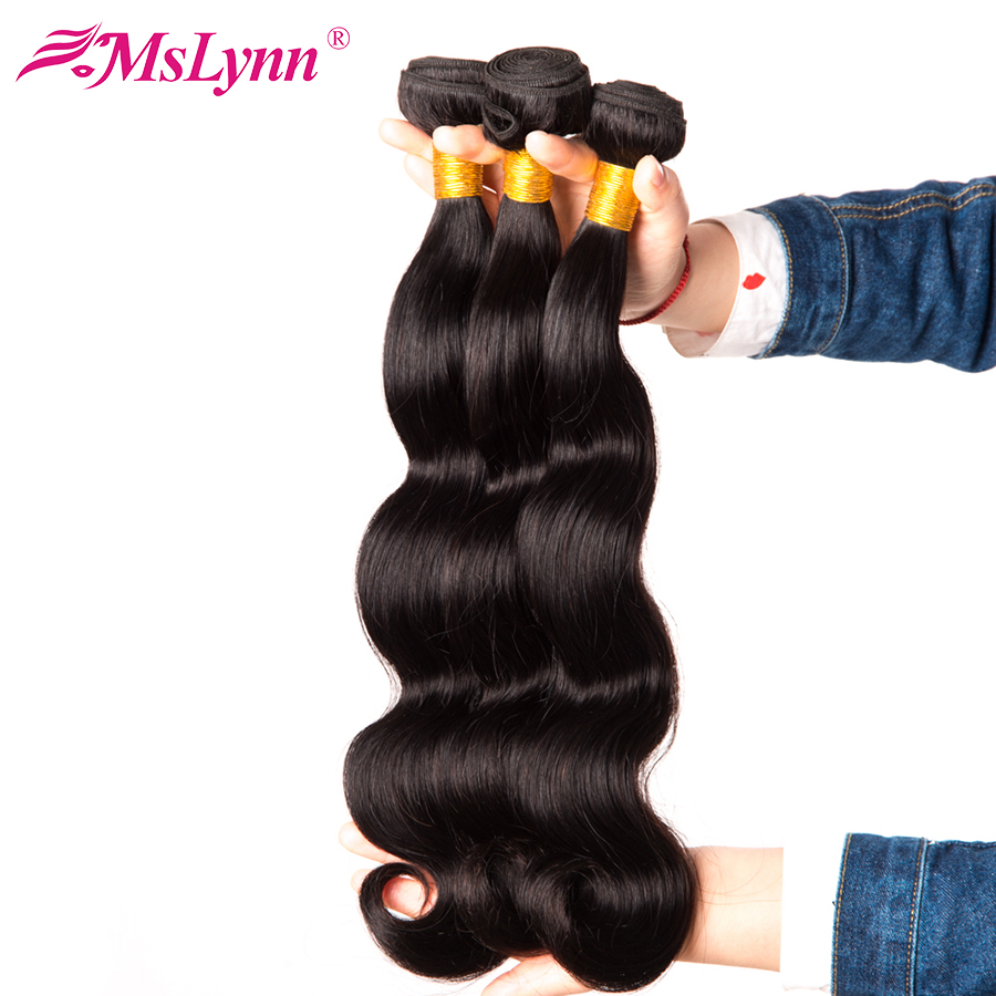 Mslynn Body Wave Brazilian Hair Weave Bundles Human Hair Extensions 10″-28″ Non Remy Hair Weaving Can Be Dyed