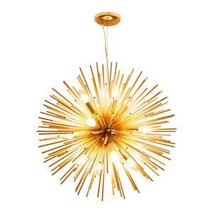 Image 2 - Nordic artístico led alumínio dandelion lustre de ouro pendurado lâmpadas luminária decorativa iluminação led luzes para casa