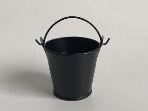 Image 1 - 100 ピース/ロット D5.5xH5CM 金属多肉植物ポット/かわいい黒キャンディーボックス/鉄バケット/保育園ポット/錫バケツ