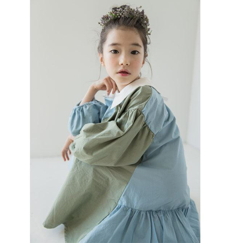 Brand New 2019 Girls Dress Two Colors Patchwork Children Cotton Dress for Baby Princess Dress Personality Teenage Dresses,#3796