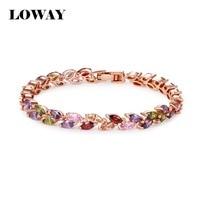 LOWAY Colorful Bracelets Bangles 18K Gold Plated AAA Cubic Zirconia Brand Bijoux Jewelry Bracelets SZ3807