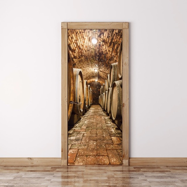 DIY 3D Wall Sticker Mural Home Decor Oak barrels in wine cellar Art ...