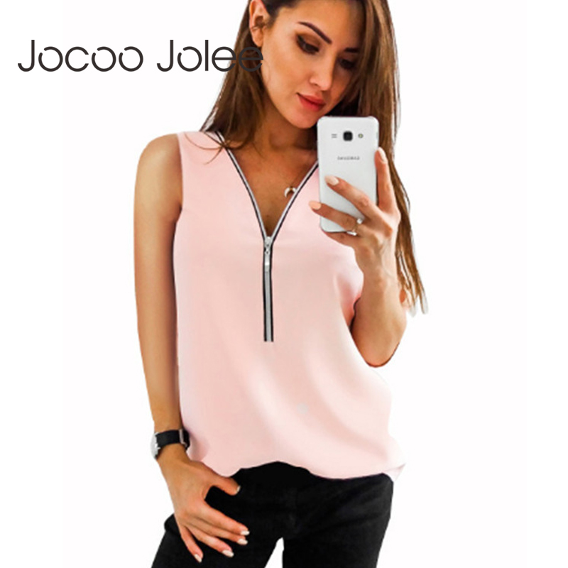 Jocoo Jolee Plus Size Sleeveless Chiffon Blouses Women Vest Casual Tank Top Boho Tops Solid Female Blusas Beach Summer Tops Women's Clothing
