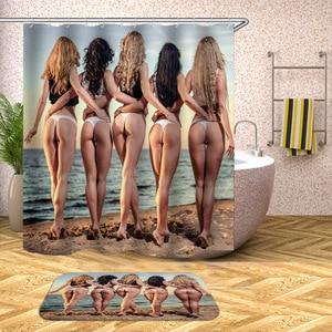 Image 4 - Su geçirmez ve mildewproof duş banyo perdesi seksi kadın ve sevgilisi baskılı duş perdesi banyo perdesi