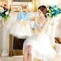 2016 Vestido de Noite Para Senhoras E Meninas Peito Envolto Vestidos Filha da Mãe de Seda Design de Moda Vestidos de Casamento