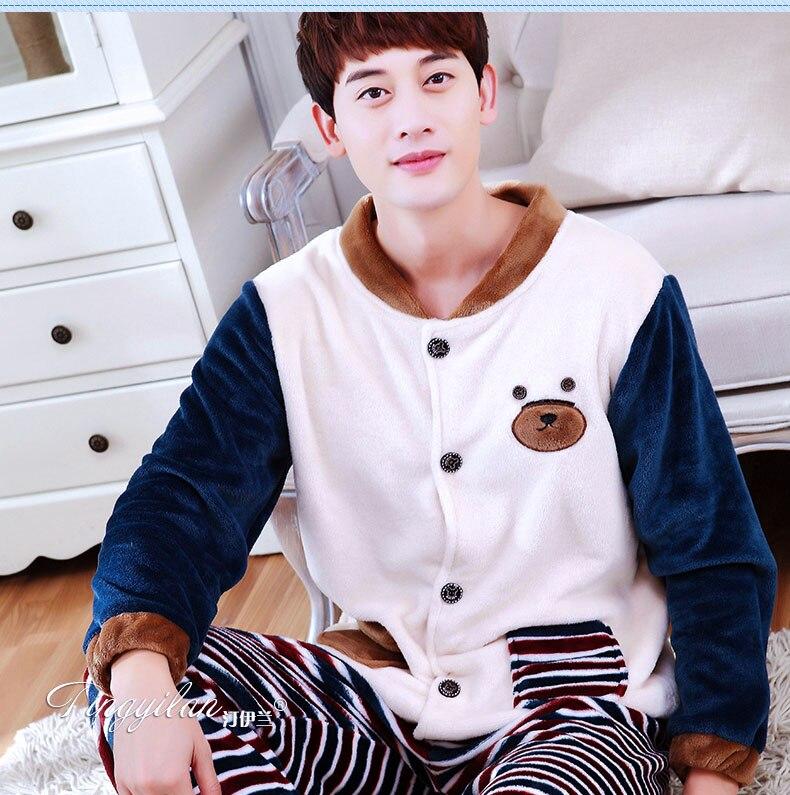 Men's Fleece Pajamas Adult Thickened Flannel Nightwear Long Sleeved Coral Velvet Homewear Plus Size 2pcs Male Sleepwear D-2062