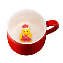 400ML Ceramics Coffee Cup 3D Cute Cartoon Three-Dimensional Animal Mug Christmas Couple Lovely Cup With Lid (Small Chick)(China)