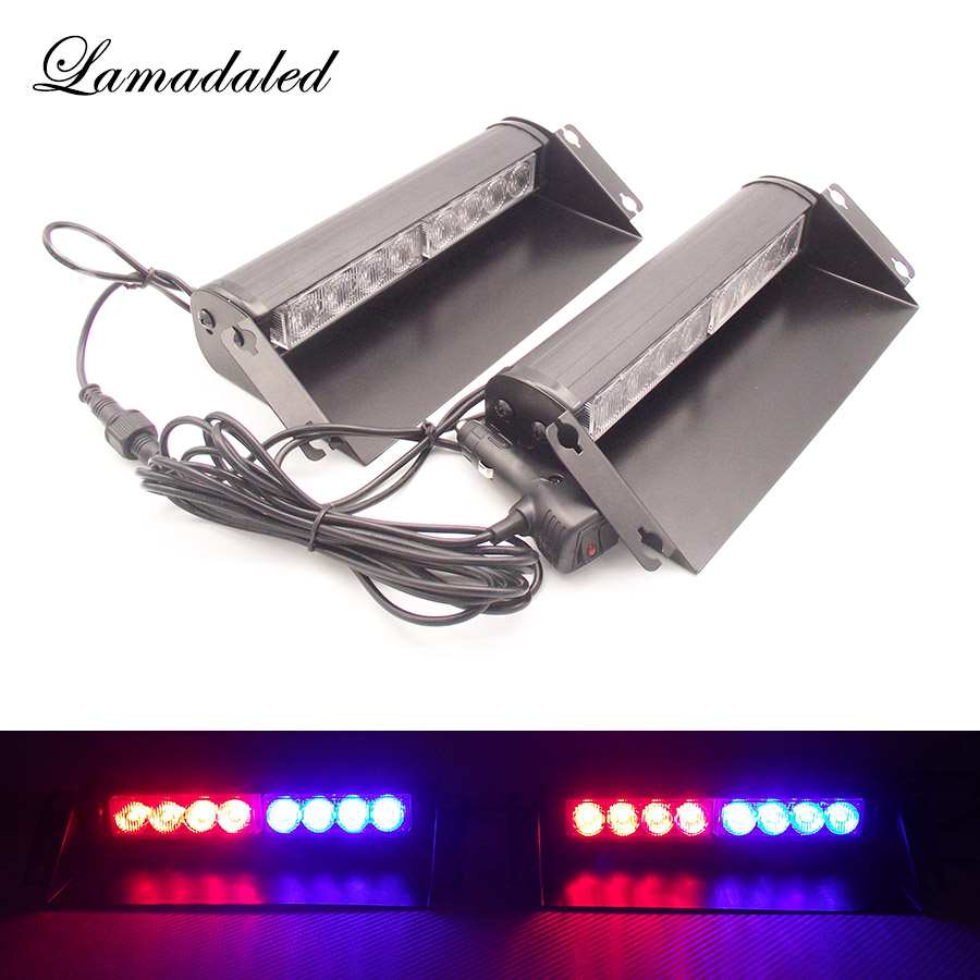 2x8led Police strobe lights vehicle flashing shovel light car dash board led emergency lights DC12V RED BLUE WHITE AMBER s2 shovels ray bead 96w led flashing police strobe intimidator windshield dash light