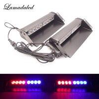 2x8led Police strobe lights vehicle flashing shovel light car dash board led emergency lights DC12V RED BLUE WHITE AMBER