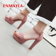 ENMAYLA  Women Sandals 2019 New Arrival Summer Fashion Shoes Flock Basic Party Solid Size 34-43 LY2513
