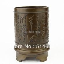 FENGSHUI Brass brush pot statue FengShui tubular penrack Sculptures pen container Figurine FU brush pot Sculptures
