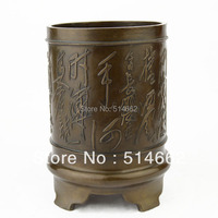 FENGSHUI Brass brush pot statue FengShui /tubular penrack Sculptures / pen container Figurine /FU brush pot Sculptures