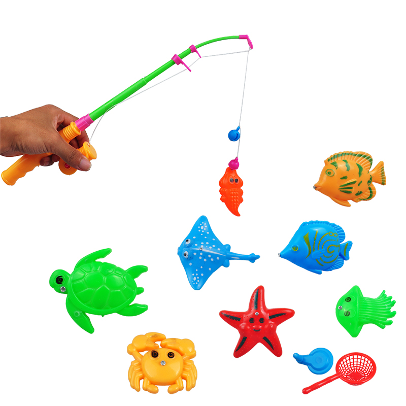 Fishing Game Toy : Hot magnetic fishing toy rod model net fish kid