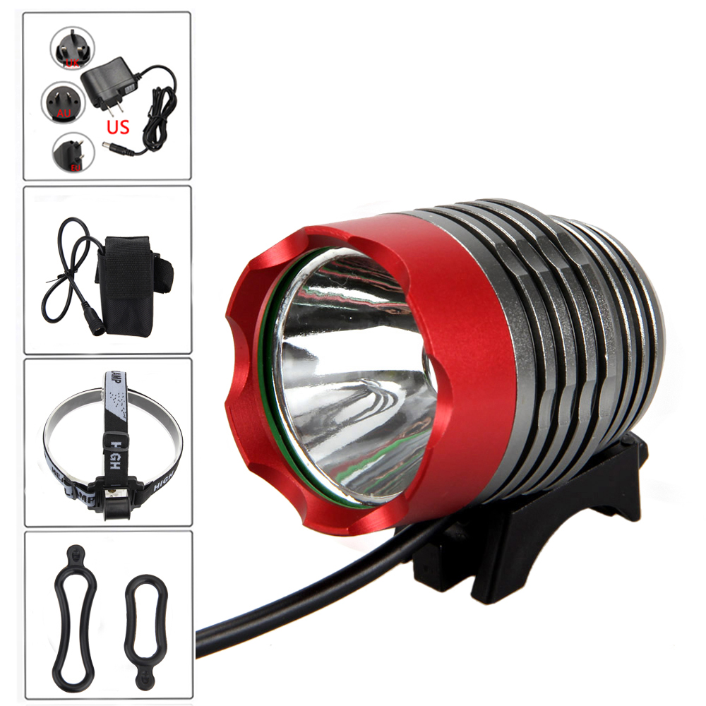 8000 lumen XM-L T6 LED Bicycle Light Headlamp Front Head Torch Bike Headlight with Battery Pack+Charger 2 in 1 20000lm 16 x xm l t6 led rechargeable bicycle light bike headlight headlamp head lamp 18650 battery pack charger