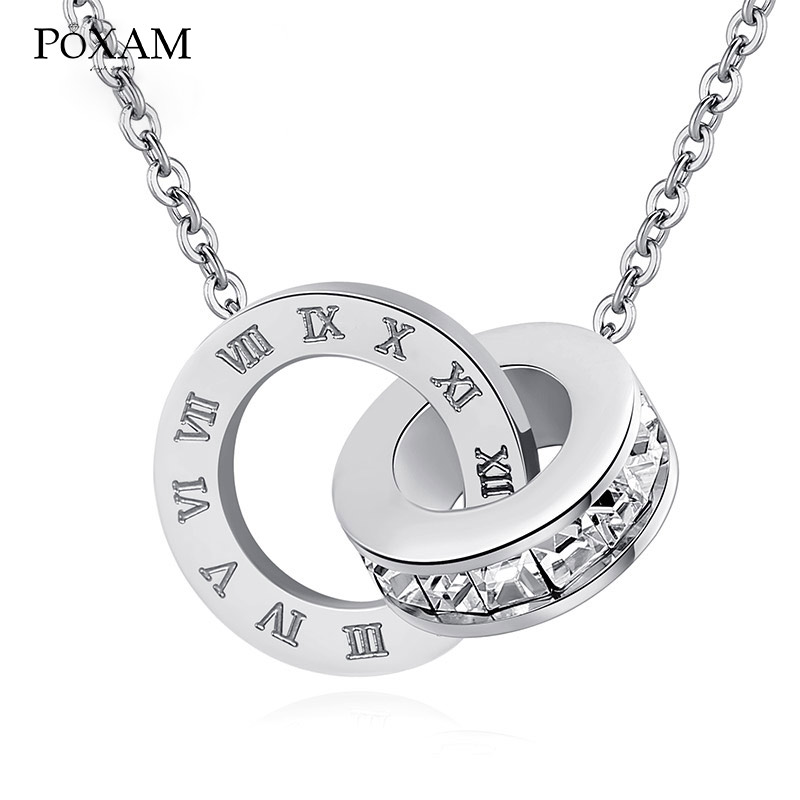 POXAM Luxury Elegant Crystal Choker Fashion Roman Digital Stainless Steel Gold Silver Color Pendant Necklaces for Women Jewelry 8