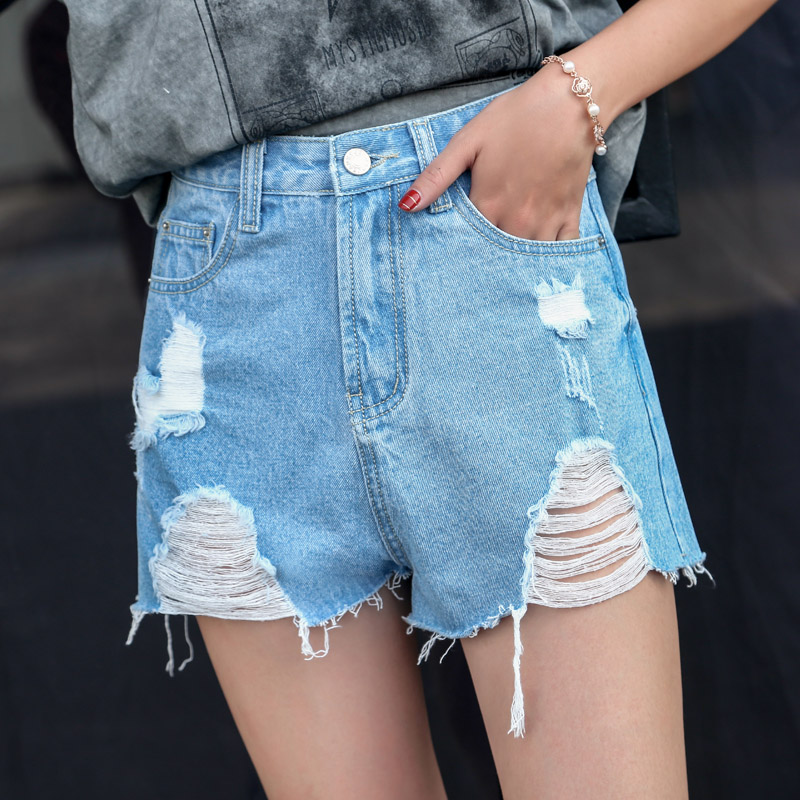 2020 summer ripped jeans shorts female summer new pants Korean students hot pants wild high waist flash soot 9068