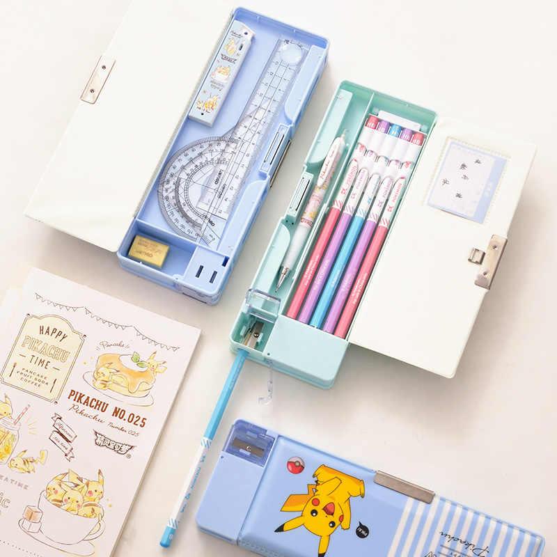 Deli пластиковые пеналы для карандашей милый пенал с героями мультфильмов Kawaii карандаш для школьников сумки студенческий ящик с книжной полкой школьные поставки