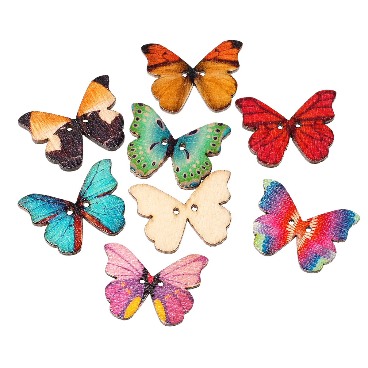 Wood Sewing Scrapbooking Button Butterfly At Random Two Holes 28mm X 21mm,7 PCs 2015 New