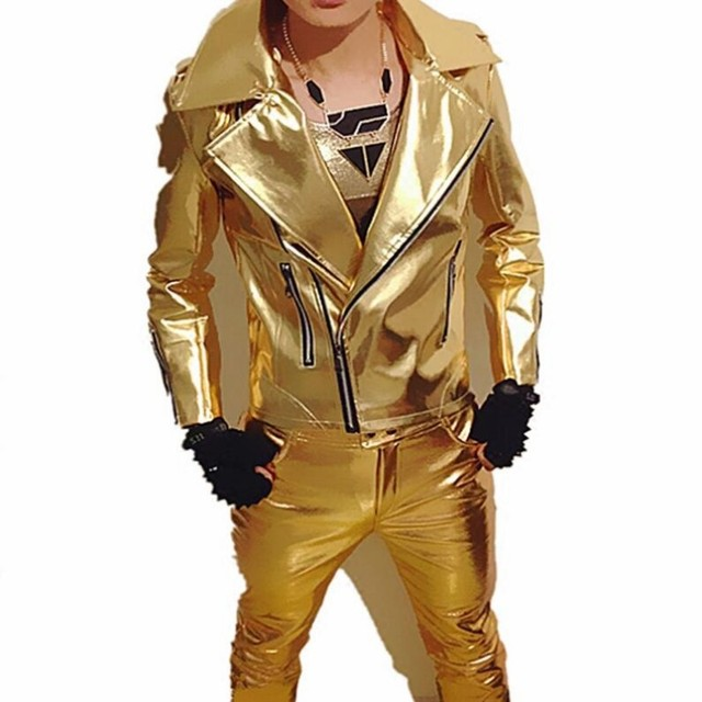 Brand New Mens Punk Rock Singer Jackets PU Leather Motorcycle Jackets Male Cosplay Jacket Gold Silver Color Free Shipping 3XL