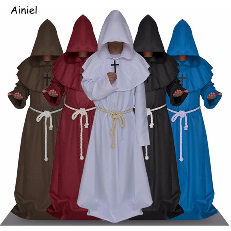 Halloween Monk Hooded Robes Cloak Cape Friar Medieval Renaissance Priest Unisex Cosplay Costume Suit Christmas Adult Women Men