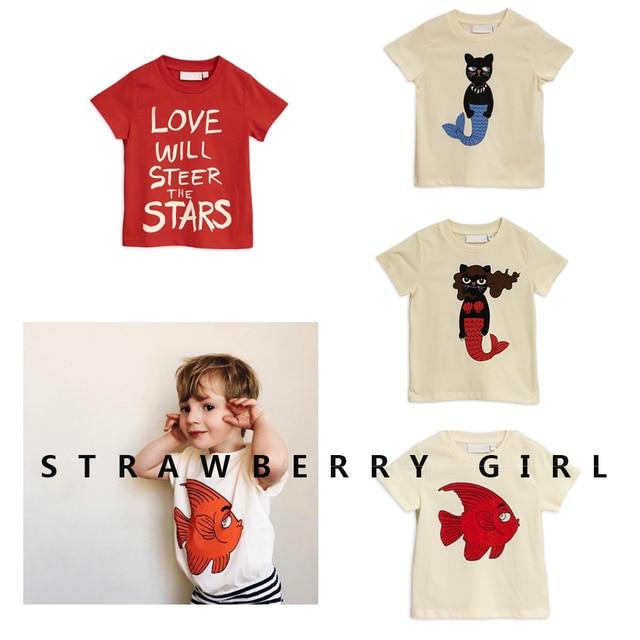 6a4c568e40 Kids T Shirts 2019 AW Mini Summer Boys Girls Short Sleeve Bobo Choses Fish Print  T