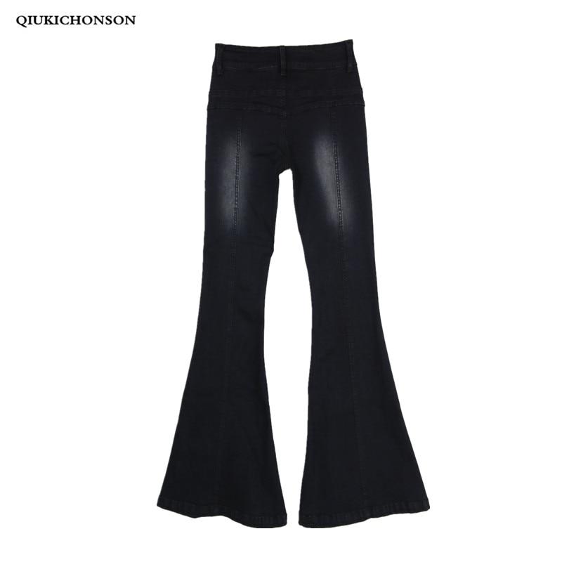 Black Jeans Woman Autumn Flare Jeans Vintage Korean Style 2019 High Waist Jeans Skinny Pockets Bleached Elasticity Ladies Jeans