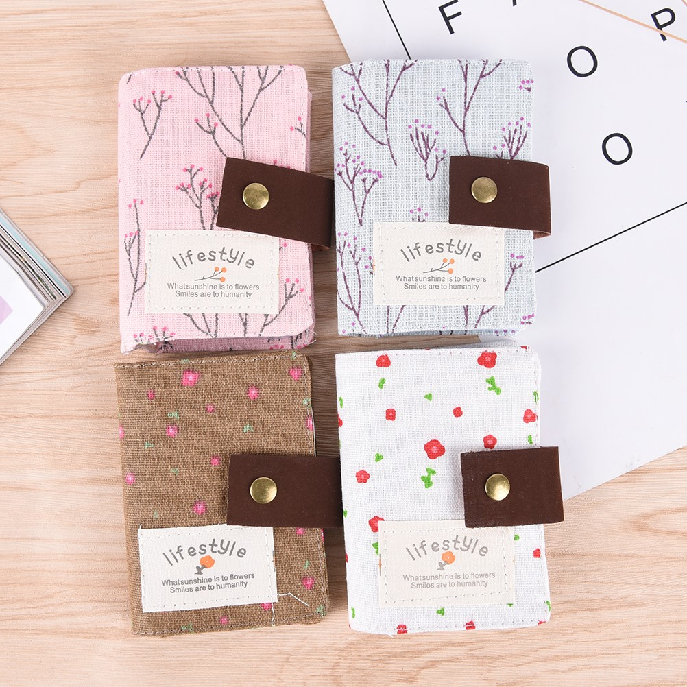 1PCS ID Card Holder Business Card Holder Canvas Cute Floral Female Credit Gift Card Wallet Women Passport Cover 3d skull floral pu leather passport cover wallet travel function credit card package id holder storage money organizer clutch