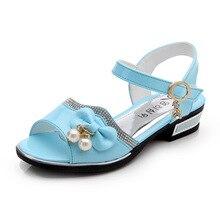 2019Summer Children Girls princess Shoes baby sandals beautiful bowknot Rhinestone Kids white light blue pink 3-15T