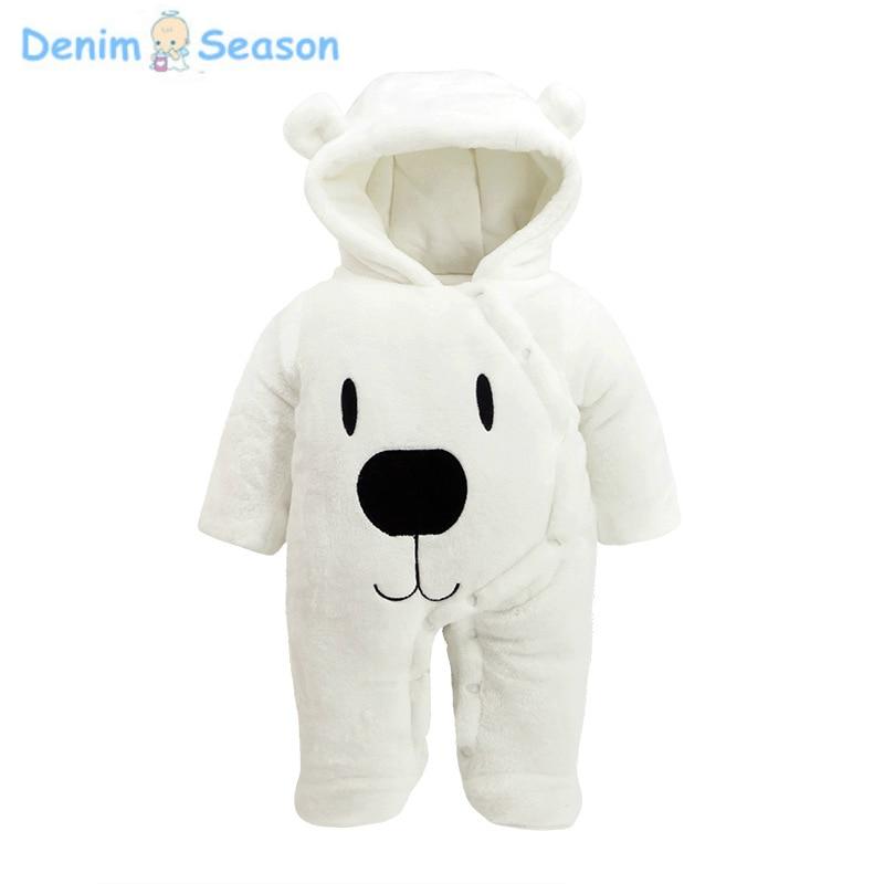 Denim Season 0-24m Newborn Baby Clothes Set Cotton Thicken Warm Fantasia Baby Romper Cute Jumpsuit Baby Boy Winter White Rompers 2pcs set baby clothes set boy