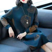 Fashion Women Autumn Knit Sweater Dress Circle Print Slim Knit Femme Dress Pullovers High-neck Casual Bottom Dress Vestido Punto