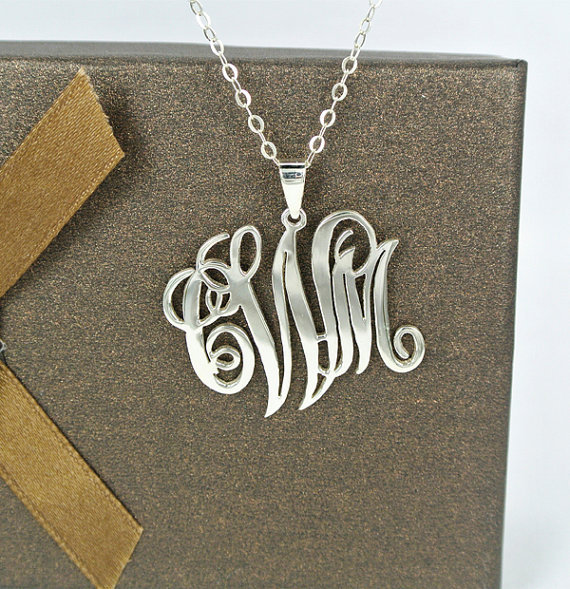 1.25 Inch 925 Sterling Silver Monogram Necklace Personalized Handcrafted 3 Initial Cut Out Pendant Name Wedding Chirstmas Gift