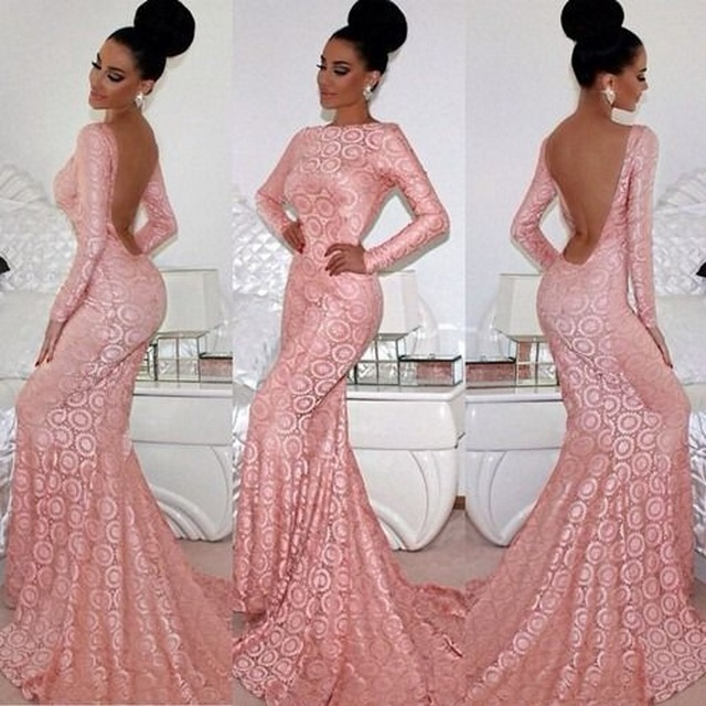 Long pink lace prom dress - Best Dressed