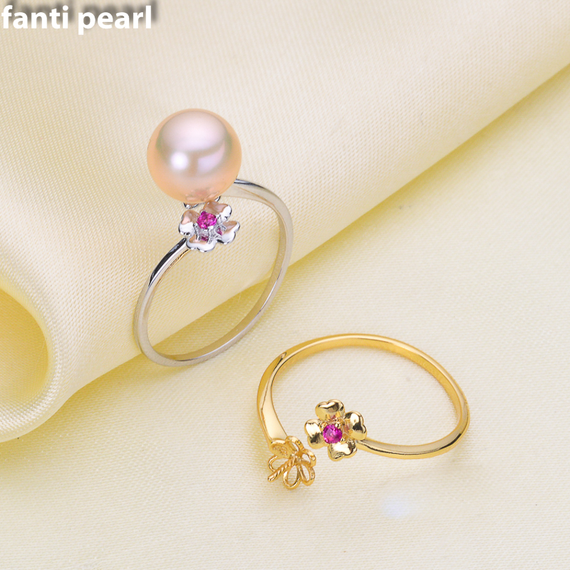 DIY Pearl Ring 925 silver Accessories  Natural freshwater  Pearl rings s925  Sterling Silver ring 6-9mm lovely