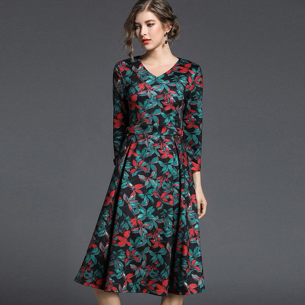 High quality Fashion Printed Woman A-Line Dress V-Neck Drapped Female Casual Dress Early Spring OL Street Dress 817