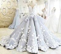 ZYLLGF Bridal Luxury Ball Gow Wedding Dresses Sexy Sheer Back Vestido De Novia 2017 Tiered Bottom Bridal Gowns With Flowers FG06