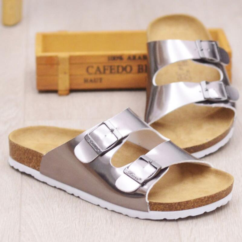 2017 Cork Slippers Women Summer Beach Sandals Floral Cork Slipper Flower Flip Flops Silver Bringt Casual Slides Shoes Flat Sweet