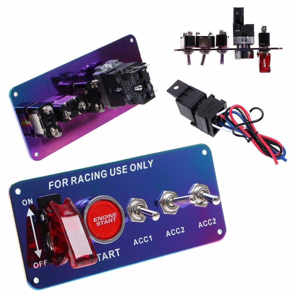 OOTDTY Universel 12 V LED À Bascule Commutateur D'allumage Panneau de Démarrage Du Moteur Push Button Set Pour Voiture De Course