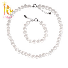 [NYMPH ] natural Baroque pearl jewelry sets 8-9mm Freshwater trendy pearl necklace & bracelet for women St102