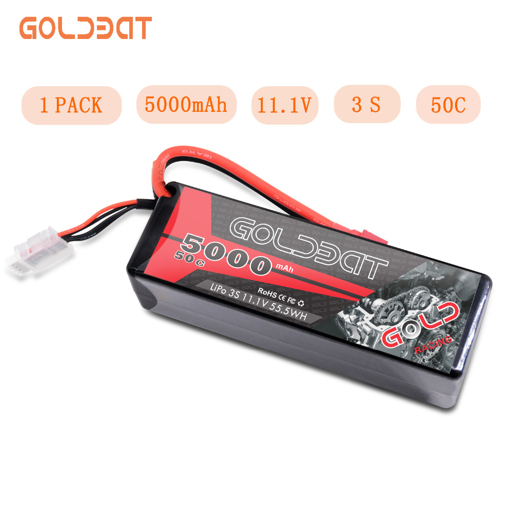 GOLDBAT 5000mAh LiPo Battery 11.1V 3S RC LiPo Battery For Rc Car LiPo 3S Lipo 50C With T & XT60 Plug For RC Heli Drone Car Boat