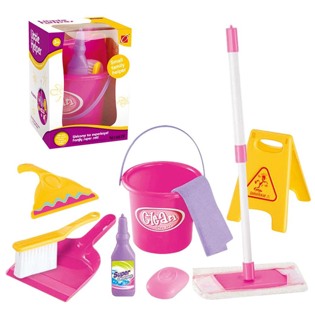 Simulation Mini Cleaning Tool Play House Broom Mopping Bucket Toy Set For Children Boy Girl