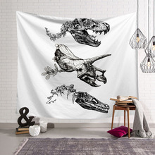 Dinosaur Skull Tapestry Wall Hanging White Fabric Animals Wall Decor Short Curtains skull in fire wall hanging tapestry