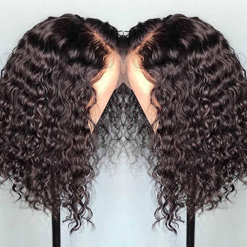 Cuero cabelludo falso indetectable 13x6 Frontal profundo Invisible corto pelucas de cabello humano nudos blanqueados rizado Bob Remy encaje transparente frente