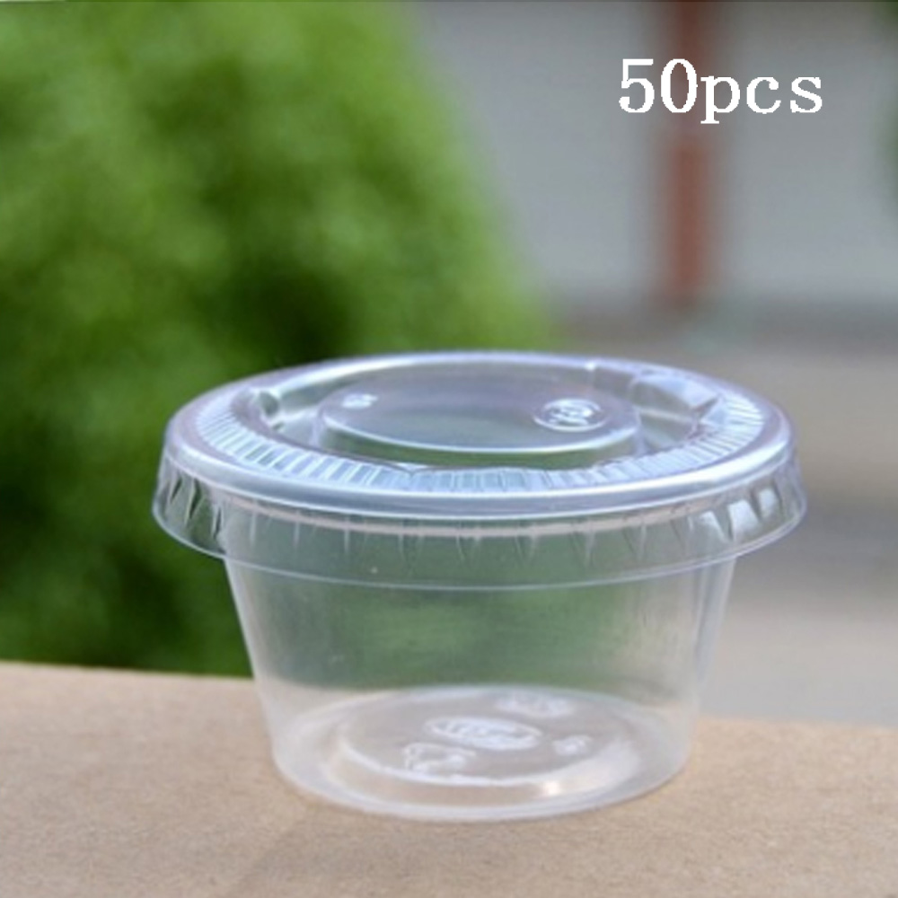 50Pcs Disposable Plastic Clear Sauce Chutney Cups Boxes With Lid Food Takeaway