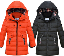 Suitable Russian winter 2017 New Kids Hooded Jacket Baby Children Solid Parkas for Boys Duck down outwear boys Down jacket 4-14T