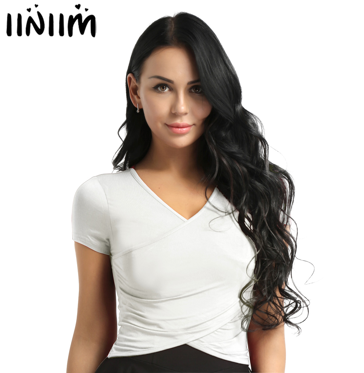 iiniim Adult Womens Deep V-Neck Ballerina  Dance Wear Front Surplice Wrap Crop Top Yoga Belly Latin Dance Competition Top
