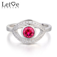 Leige Jewelry Lab Ruby Ring Anniversary Ring Round Cut Red Gemstone July Birthstone Ring Solid 925 Sterling Silver Women Jewerly