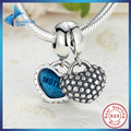 Hot Sell 925 Sterling Silver Piece Of My Heart Mother Son Blue Enamel Charm fit Pandora Bracelets Jewelry Accessory