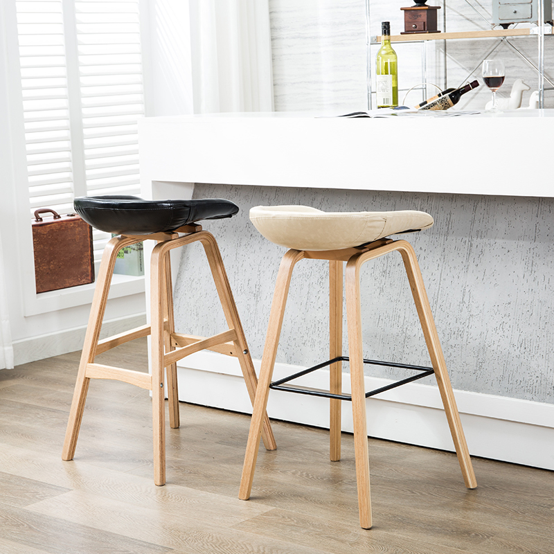 100% wood Bar stools PP plastic PU leather Cottton bar chair northern wind fashion creative counter stool Popular Furniture