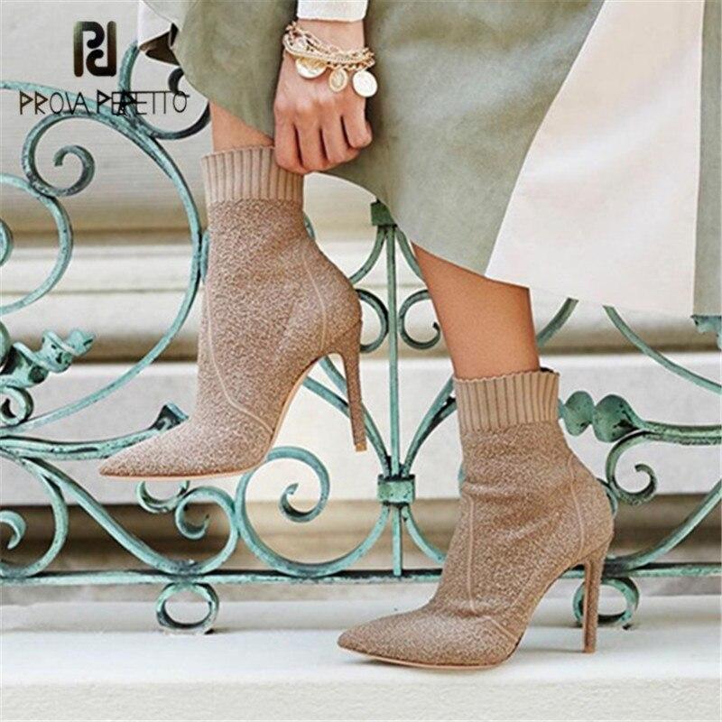 Talons Femmes Chaussette Chaussures Pompes noir Tissu Perfetto Bout Boot Bottes Khaki Cheville Mujer Prova Valentine En Hauts Tricot Extensible leopard Botas Pointu 5Fx7qBnYwp